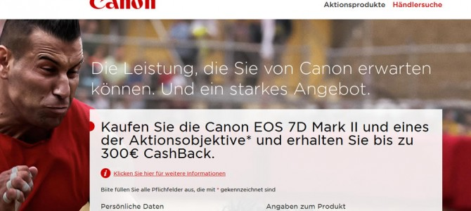 Canon EOS 7D Mark II Cashback verlängert bis 31.07.2015