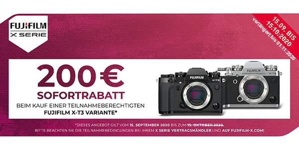 Fujifilm X-T3 – 200€ Sofortrabatt sichern!